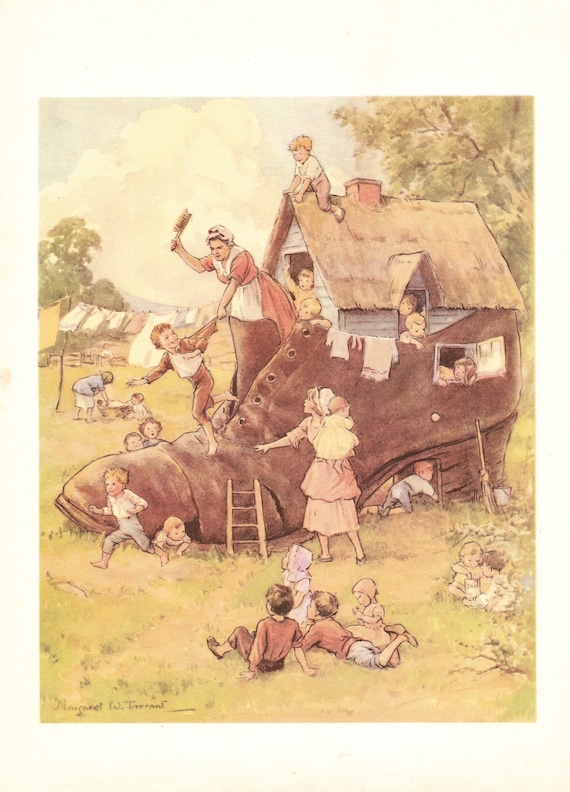 """Illustration of nursery rhyme """" The Old Woman who Lived in a Shoe"""" by Margaret Tarrant, 12 x 9 inches, 1950 book illustration"""