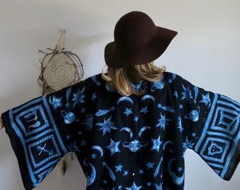 Zodiac Moon Stars Print Celestial Bell Sleeve Blue Bohemian Hippie Kimono Jacket Sweater Boho Festival Outfit One Size Fits All