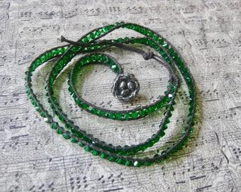 Crystal Wrap Bracelet in Fern Green