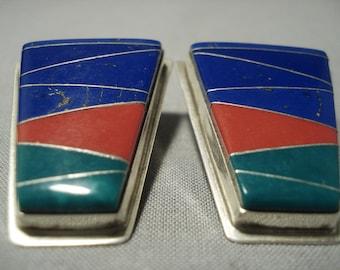 Huge 21 Grams Vintage Navajo Turquoise Coral Silver Earrings