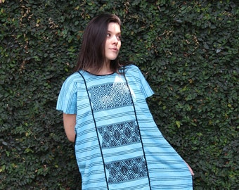 Turquoise with black  embroidery Huipil Dress Handwoven