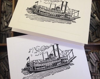 """Letterpress Note Cards """"Riverboat - Paddle Wheeler"""" - Set of 10 cards with matching envelopes"""