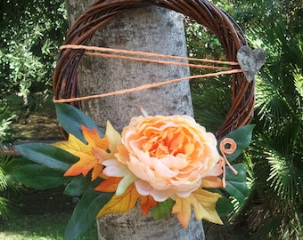 OOAK peony and maple leaves fall wreath, Italian floral decor gift for her, floral wreath orange shaded peony, one-of-a-kind Italian decor