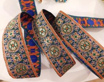 "Jacquard Ribbon Trim| Circles and Swirls metallic ribbon trim~Renaissance Fair~Blue~Green~Red 15/16"""
