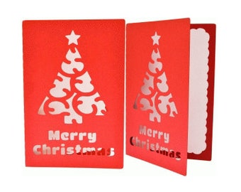 Merry Christmas Tree Card , Blank inside , Papercut . Star , Holiday , Seasons Greetings , Celebrate