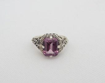 Vintage Sterling Silver Amethyst Filigree Ring Size 7