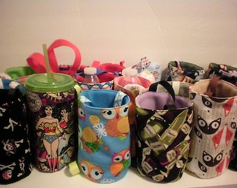 Water bottle carrier/cup carrier/holder-fabric in multiple prints