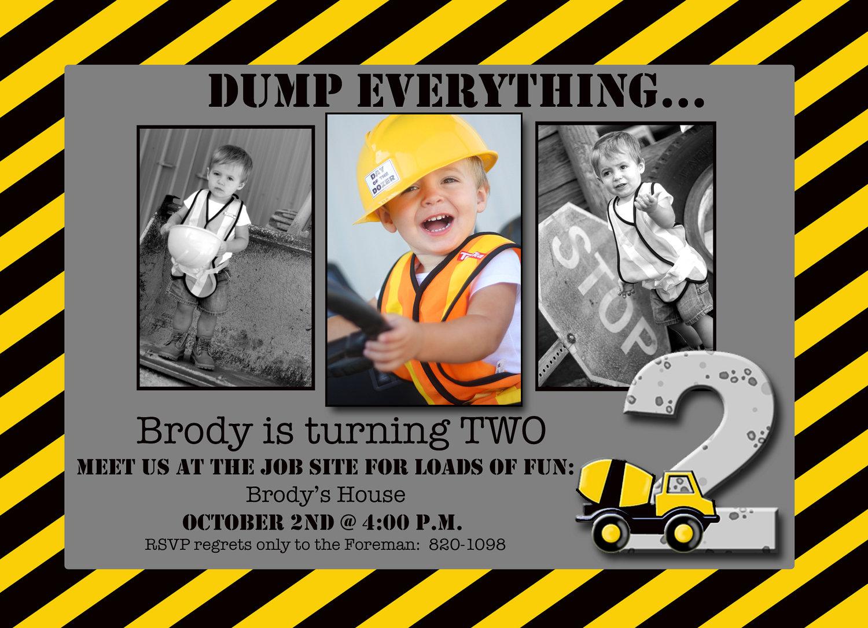 Boy Construction Theme Photo Card Invitation Custom 5x7
