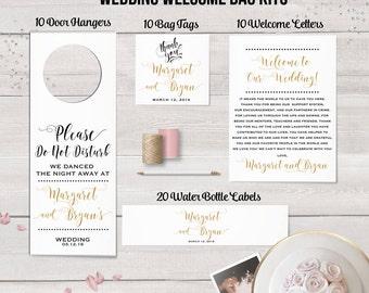 Wedding Welcome Bag Kit,  Destination Wedding, Wedding Favors, Welcome Bag Labels, Water Bottle Labels, Door Hanger