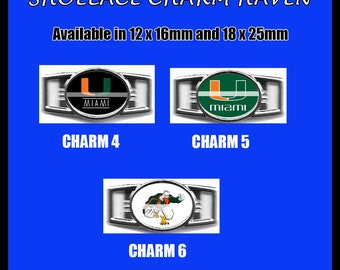 MIAMI HURRICANES Shoelace Charm  Paracord Bracelet Charm Oval Charm 12 x 16mm or 18 x 25mm Charms