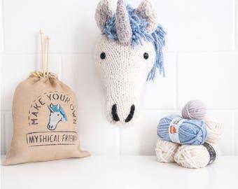 Faux Unicorn Knitting Kit - Cream - Make Your Own Mythical Friend - Taxidermy Trophy Head DIY Kit