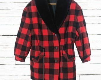 Wool plaid coat | Hunter plaid jacket | Vintage plaid jacket | Red and black plaid | Wool plaid jacket for women