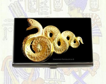 Metal Card Case Snake Inlaid in Hand Painted Enamel Steampunk Gothic Victorian Serpent Inspired Custom Colors and Personalized Options