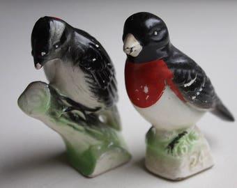 Birds from Tenderleaf tea Japan vintage ceramic pair grosbeak woodpecker figurine vintage