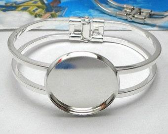 10pcs 25mm Silver round setting Blank Bracelet Cuff, bracelet blanks, Bezel Bracelet Blank, Bracelet Tray, Bezel Cuff