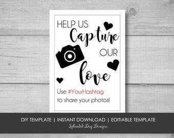 Wedding hashtag sign, Wedding Instagram, Wedding Facebook, Wedding photography, Wedding decorations, DIY wedding, Bride on a budget