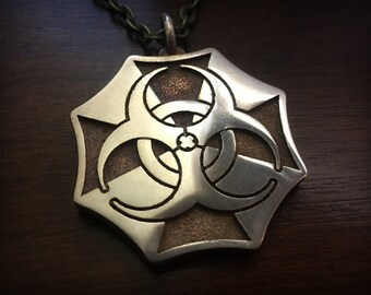Resident Evil Umbrella Biohazard Stainless Steel 3D Printed Pendant and Keychain