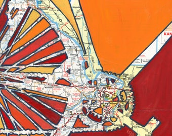 St Louis - large print -  20x20 & 24x24 -bike art feat. Florissant, St Clair, Hannibal, Missouri art print,  bicycle art, map art, cyclist