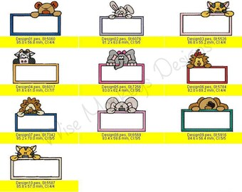 Animal Tags machine embroidery designs set of 10