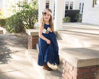 Navy blue flower girl dress, Lace flower girl dress, flower girl dresses, blue dress, rustic girls dresses, blue lace dress, posh peanut