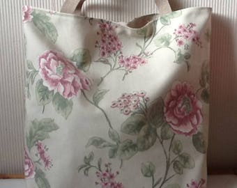 Pink flowers canvas tote