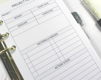 Personal Ring Size : Project Planner | PRINTED Planner Inserts | DreamPlanRepeat