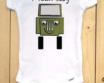 Toledo, OH onesie/ T-Town Baby Bodysuit/ Jeep onesie/ White, Short-sleeved onesie with Jeep graphic/ Green Jeep Drawing/ Toledo Baby Gift