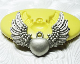 HEART WINGS Mold Flexible Silicone Push Mold for Resin Metal Clay PMC Wax Fondant Fimo