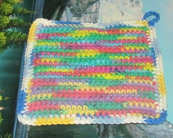 UHP 033 Hand crochet dbl thick cotton upcycle hot pad 7.5 by 7.5