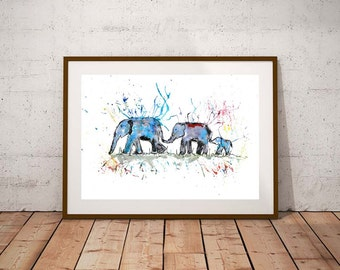 Giclee print, Elephant watercolour PRINT, elephant family, elephant art, watercolour painting, elephant lover gift, watercolour animal print