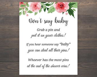 Don't Say Baby, Baby Shower Games, Printable Baby Shower, Floral Baby Shower Games, Grab a pin game, Clothespin game, Baby Shower, S017