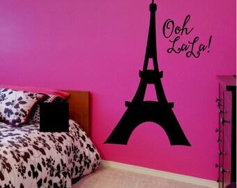 Eiffel Tower Decal - Eiffel Tower Wall Decal - Eiffel Tower Sticker - Eiffel Tower Wall Art - Oh La La - Paris Wall Decal - Paris Decor