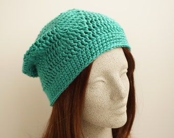 Deep Aqua Blue Green Crochet Slouch Hat Crocheted Slouchy Beanie Slouchy Hat Womens Fashion Crochet Hat Crocheted Beanie