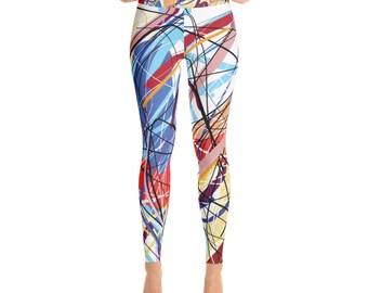 SGRIB Print Women's Fashion Yoga Leggings - xs-xl sizes - design number ten - on white