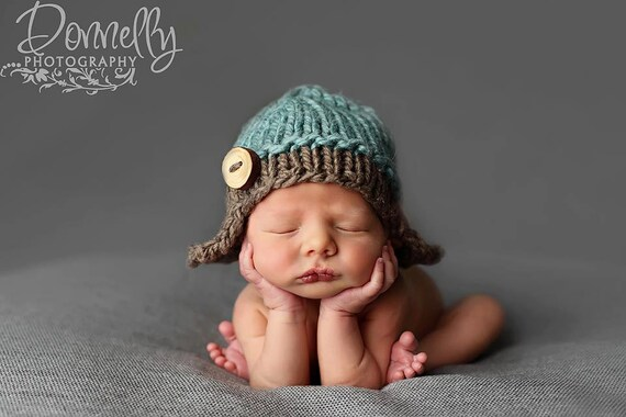 Pom pom precious knit baby hat newborn photo props newborn hats photography props newborn aviator hat newborn boy hats unique baby shower