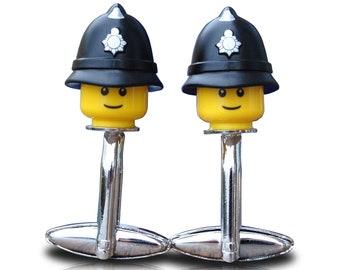 LEGO ®  Police Officer Minifigure Cufflinks, British Policeman, UK Police Helmet