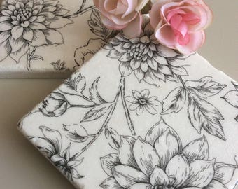 Set of 2 Floral Marble Coasters /Floral Coasters/ Floral Tile art/Floral gift ideas decor/Floral Coaster set/Floral tiles/Tile art