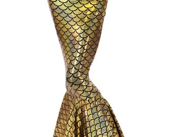High Waist GOLD Shimmering Hologram Dragon Scale Metallic Mermaid Skirt Sirena 151278