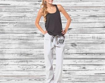 Monogram Seersucker Pajama Pants, Monogrammed Pajama Pants, Monogrammed gifts, Bridesmaid gifts, Bachelorette Party Pajamas