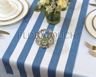 White and Blue Stripe Table Runner Wedding Table Runner with blue stripes on the borders
