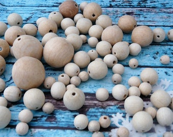"""1"""" / 25 mm 10/25/100/200 Unfinished Round Wood Beads, Unfinished Spacer Beads, Craft, Natural Wood Beads, Organic Wooden Beads, Wooden"""