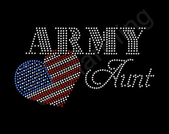 """Rhinestone Iron On Transfer """"Army Aunt"""" Bling Design with USA flag heart"""