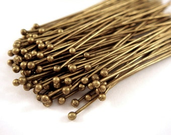 50+ Ball Pins Brass 2 inch, Antique Bronze Plated 22-24 Gauge Ball Headpin 1.25/1.50mm Ball - 50 pc - F4028BHP-AB2100