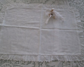 vintage antique cream cotton  baby pillowcase embroidered ,cotton baby linens white cream on cream baby pillowcase cottage, cottage linens