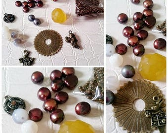set of 28 beads and Tibetan silver tone metal findings
