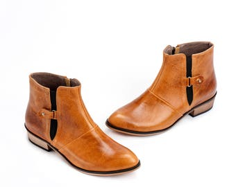 Unisex Leather Booties / Women Leather Shoes / Brown Leather Boots / Office Shoes / Designers Leather Shoes / Wood Heels Shoes - Jerry