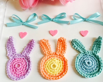 Crochet  Bunny Appliqués...watercolor shades, 3 Bunny decorations, hair pins, party favors, scrapbooks, Spring decor
