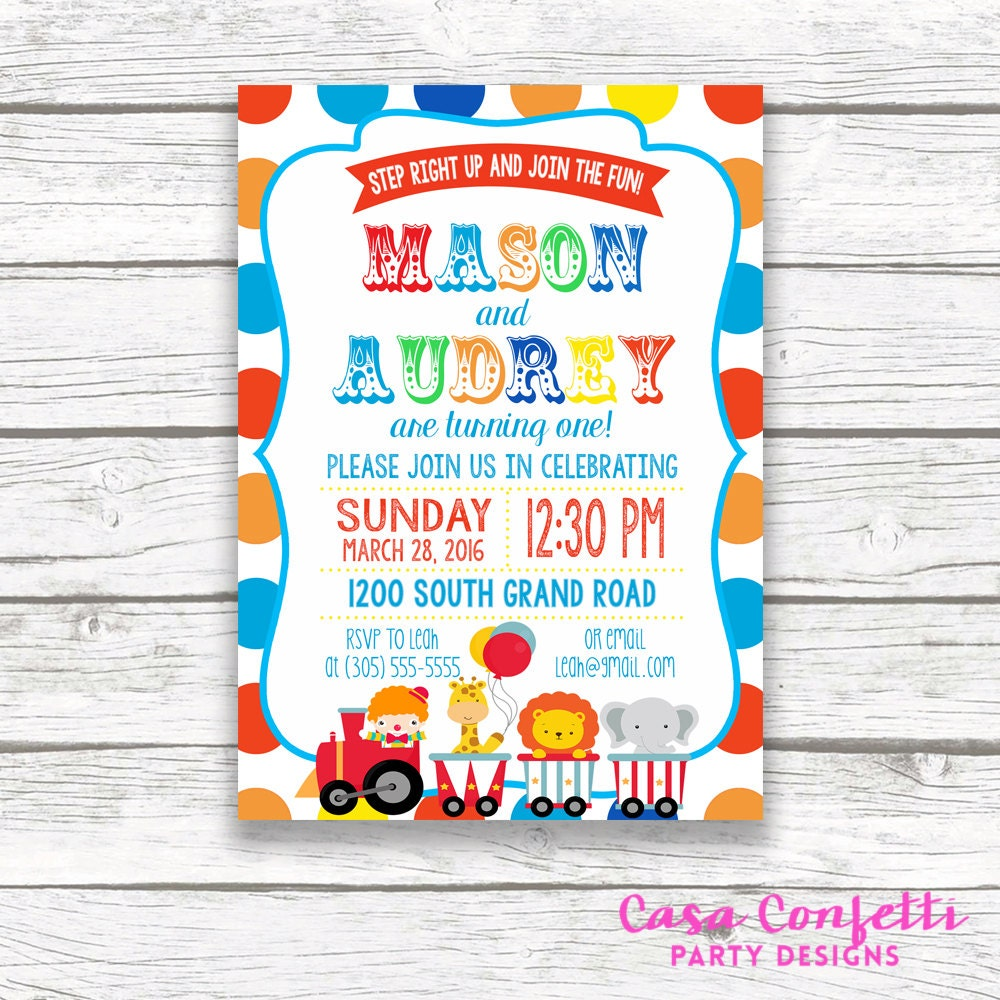 Twin circus birthday party invitation boy girl twins polka dot twin circus birthday party invitation boy girl twins polka dot carnival birthday invitation first 1st birthday printable invitation filmwisefo Images