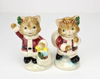 Vintage Christmas Salt and Pepper, Santa Cat Shakers, Otagiri, Santa Claus,  Christmas Figurines, Epsteam