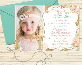 Twinkle Twinkle Little Star Birthday Invitation with Gold Glitter, Pink and Mint